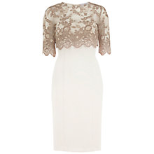 Buy Gina Bacconi Antique Lace Top And Crepe Dress, Truffle Online at johnlewis.com