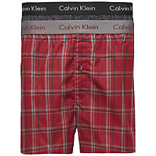Buy Calvin Klein Woven Cotton Check Stripe Boxers, Pack of 2, Red/Black Online at johnlewis.com