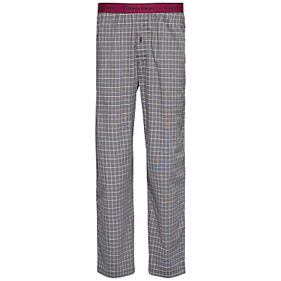 Calvin Klein Woven Cotton Check Lounge Pants, Grey/Red