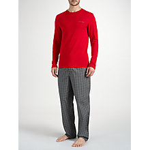Buy Calvin Klein Long Sleeve T-Shirt and Check Trousers Lounge Set, Red/Grey Online at johnlewis.com
