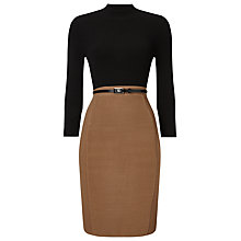 Buy Phase Eight Abbey Belted Dress, Black/Camel Online at johnlewis.com