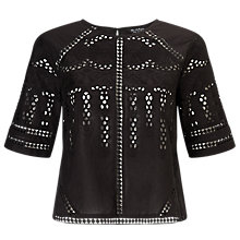 Buy Miss Selfridge Embroidered Cutwork T-Shirt, Black Online at johnlewis.com