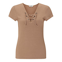 Buy Miss Selfridge Short Sleeve Lace Up Top Online at johnlewis.com