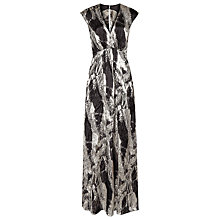 Buy Reiss Lin Printed Maxi Dress, Platinum/Black Online at johnlewis.com