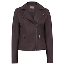 Buy Oasis Faux Leather Biker Jacket, Burgundy Online at johnlewis.com