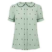 Buy Oasis Heart Print Collar Top, Teal Green Online at johnlewis.com