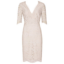 Buy Reiss Dahlia Fitted Lace Dress, Cloud Online at johnlewis.com