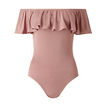 Buy Miss Selfridge Bardot Ruffle Body, Nude Online at johnlewis.com