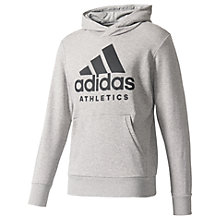 Buy Adidas Logo Long Sleeve Training Hoodie, Grey Heather Online at johnlewis.com