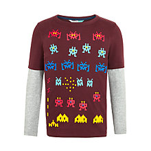 Buy John Lewis Boys' Asteroid Print T-Shirt, Burgundy Online at johnlewis.com