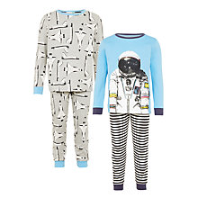 Buy John Lewis Children's Spaceman Pyjamas, Pack of 2, Blue/Grey Online at johnlewis.com