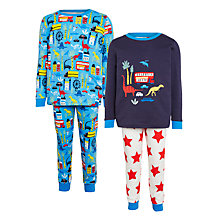 Buy John Lewis Children's Dinosaur City Pyjamas, Pack of 2, Blue/Multi Online at johnlewis.com