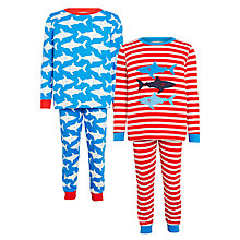 Buy John Lewis Children's Shark Print Pyjamas, Pack of 2, Blue/Red Online at johnlewis.com