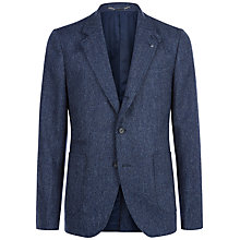 Buy Jaeger Wool Herringbone Slim Fit Blazer, Navy Online at johnlewis.com