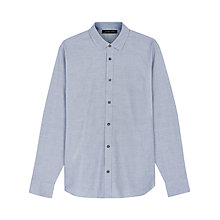 Buy Jaeger Staggered Weave Flannel Shirt, Blue Online at johnlewis.com