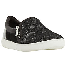 Buy Dune Edgar Zip Slip On Trainers, Black Lace Online at johnlewis.com