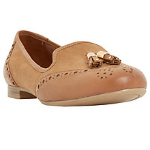 Buy Dune Wide Fit Loki Flat Tassel Loafers, Tan Online at johnlewis.com