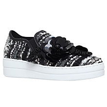 Buy Kurt Geiger Lamont Flatform Trainers, Black/White Online at johnlewis.com