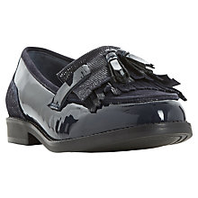 Buy Dune Wide Fit Goodie Fringed Loafers, Black Patent Online at johnlewis.com
