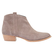 Buy Mint Velvet Claire Block Heel Ankle Boots, Taupe Suede Online at johnlewis.com