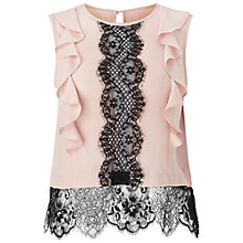 Buy Miss Selfridge Petite Lace Front Top, Pale Pink Online at johnlewis.com