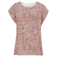 Buy Reiss Printed Silk-Front T-Shirt, Coral/Black Online at johnlewis.com