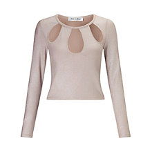 Buy Miss Selfridge Petite Glitter Cut Out Top, Pink Online at johnlewis.com