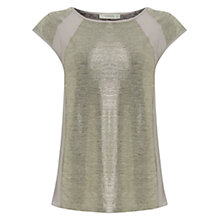 Buy Oasis Foil Chiffon Top, Gold Online at johnlewis.com