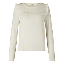 Buy Miss Selfridge Ruffle Front Jumper, Cream Online at johnlewis.com