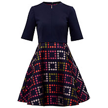 Buy Ted Baker Qinna Horticultural Check Dress, Navy Online at johnlewis.com