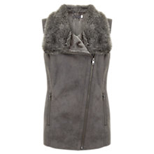 Buy Mint Velvet Faux Fur Biker Gilet, Grey Online at johnlewis.com