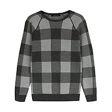 Buy Jaeger Merino Buffalo Check Sweater, Grey Online at johnlewis.com