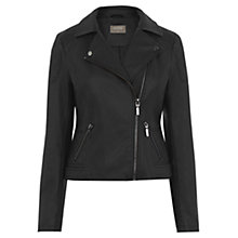 Buy Oasis Faux Leather Biker Jacket, Black Online at johnlewis.com
