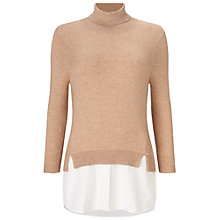 Buy Miss Selfridge Roll Neck Shirt Jumper, Camel Online at johnlewis.com