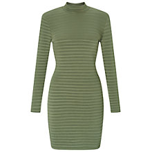 Buy Miss Selfridge Petite High Neck Dress, Khaki Online at johnlewis.com