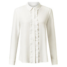 Buy Miss Selfridge Frill Placket Shirt, White Online at johnlewis.com