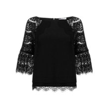 Buy Mint Velvet Lace Sleeve Top, Black Online at johnlewis.com