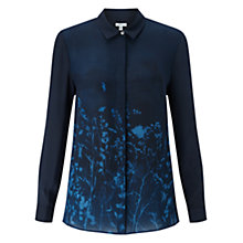 Buy Jigsaw Floral Exposure Silk Blouse, Petrol Online at johnlewis.com