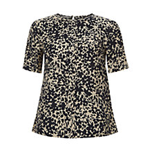 Buy Hobbs Petal Leaf Blouse, Navy/Oatmeal Online at johnlewis.com