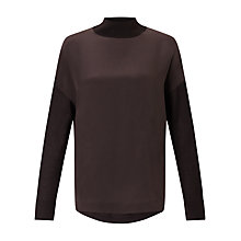Buy Jigsaw Silk Front Jumper, Rich Cocoa Online at johnlewis.com