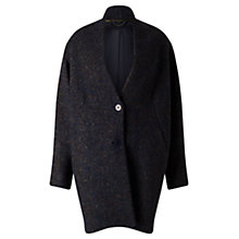 Buy Jigsaw Mohair Melange Cocoon Coat, Petrol Online at johnlewis.com