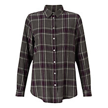 Buy Jigsaw Check Classic Shirt, Winter Plum Online at johnlewis.com