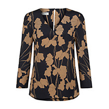 Buy Hobbs Chrissie Floral Sketch Silk Blouse, Navy Camel Online at johnlewis.com