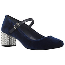 Buy Carvela Greatest Studded Block Heel Court Shoes, Navy Velvet Online at johnlewis.com