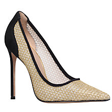 Buy Kurt Geiger Spice Fabric Stiletto Court Shoes, Gold Online at johnlewis.com