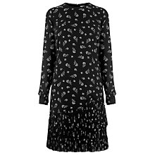 Buy Warehouse Pattern Dotty Floral Pleated Hem Dress, Black Pattern Online at johnlewis.com