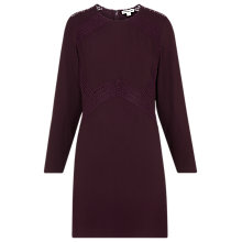 Buy Whistles Amy Lace Insert Dress, Burgundy Online at johnlewis.com