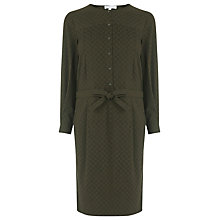 Buy Warehouse Jacquard Pleat Front Dress, Khaki Online at johnlewis.com