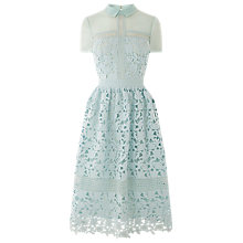Buy Warehouse Lace Shirt Dress, Light Blue Online at johnlewis.com