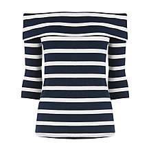 Buy Warehouse Stripe Bardot Top, Blue Online at johnlewis.com